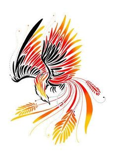 Phoenix Tattoo Design love the minimalistic nature of this tattoo... Mayhaps inspiration for a dragon