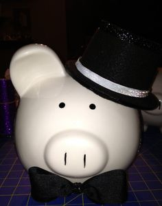 Groom piggy bank with top hat large bank by Thislilpiggybank on Etsy, $45.00
