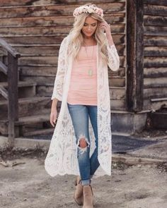 modern vintage: Just Close Your Eyes Long Embroidered Lace Kimono Ivory Source by nmontecastro outfit White Kimono Outfit, Lace Cardigan Outfit, White Lace Kimono, Long Kimono Cardigan, Poncho Sweater, Pretty Outfits, Fall Outfits, Casual Outfits, Cute Outfits