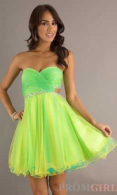 Neon Green Strapless Mini Flare Dress | Neon green and Neon