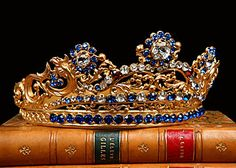 French Antique Crown Tiara with Blue and Crystal Jewels, circa 1840