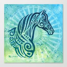 Tribal Tattoo Style Horse with Watercolor Background Canvas Print by Joni A Solis - MEDIUM Horse Tattoos, Tribal Tattoos, Horse Print, Art Prints For Sale, Hand Painted Furniture, Equine Art, Watercolor Background, Stretched Canvas, Moose Art