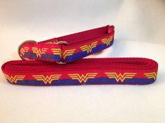 Wonder Woman Dog Collar, Superhero Dog Collar, Wonder Woman Leash, Martingale Dog Collar