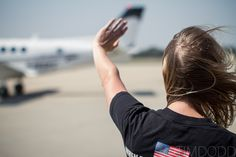 Taylor Morris' sister, Molly, waves as Taylor's plane taxi's into it's parking spot at Waterloo Airport. Plane, My Friend, Desktop, Waves, Hero, Airplane, Heroes, My Boyfriend, Airplanes