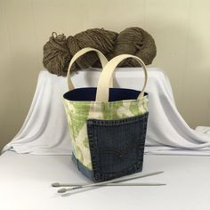 Project Bag, Bucket style, Green Pattern, from Upcycled jeans & Upholstery fabric samples by SavedbyKate on Etsy