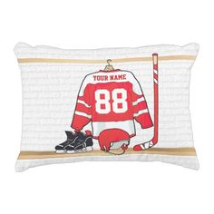 Personalized Red and White Ice Hockey Jersey Decorative Pillow