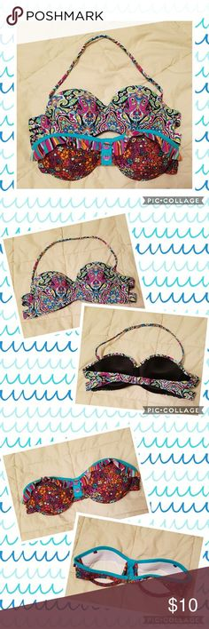 2 Bandeau Bikinis Bottom one is Medium and the top one is Large..tags were cut out but neither were worn much. Just never liked the way bandeau looked on me. Bottom one has no strap. Beautiful colors on both and in excellent condition. Target Swim Bikinis