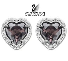 616ce6697 Swarovski Color Crystal JEWELRY Silver Pierced HEART Earrings VELIKA 5019069
