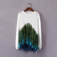 Women Casual Long Sleeve Knitwear Cardigan gradient tassel Sweater Pullover