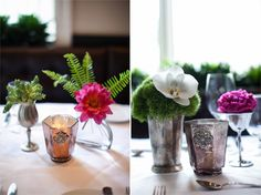 simple wedding centerpieces in bud vases and mercury glass vases.