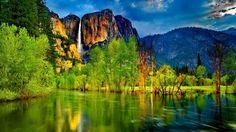 Wallpaper Hd Lake Mountain Waterfall