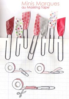 Paper clips with washi tape. (Decorated masking tape.)