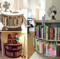 Viete ako využiť drevené bubny od káblov? 90 šikovných riešení pre vašu domácnosť - sikovnik.sk Bookcase, Sweet Home, Shelves, Home Decor, Shelving, Homemade Home Decor, House Beautiful, Shelf, Open Shelving