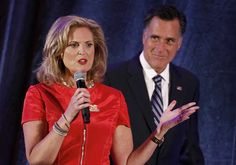 U.S. Republican presidential nominee and former Massachusetts Governor Mitt Romney (R) listens to his wife Ann speak at a campaign fundraiser in Dallas, Texas September 18, 2012. REUTERS/Jim Young (UNITED STATES - Tags: POLITICS ELECTIONS)