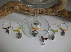 Wine Themed Wine Glass Charms, Wine Themed Wedding Bridal Shower Favors, Wine Lovers Gift, Wine Tasting Party Favor Gift by SeashellBeachDesigns on Etsy