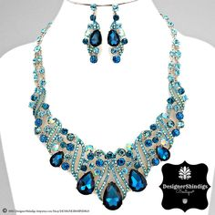 Rhinestone Gold and Teal Aqua Bridal Bib Necklace and Earrings Set by DESIGNERSHINDIGS on Etsy