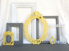 Yellow, Grey White  Ornate Vinatge Open Frames Set of 7 - Upcycled Frames Modern  Bedroom Decor