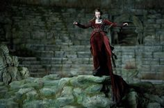 Red velvet gown (Dakota Blue Richards as Maria Merriweather in The Secret of Moonacre)