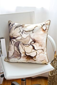 Silk Pillows with Original Watercolor Pattern (Neutral)