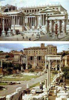 Ancient Rome (before and after) después of the Roman Forum Architecture Classique, Architecture Antique, Roman Architecture, Cultural Architecture, Historical Architecture, Building Architecture, Rome History, Ancient History, Art History