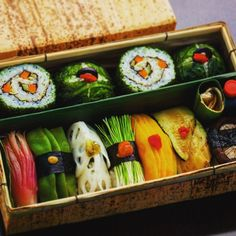 Nigirizushi and Futomaki (thick sushi rolls) bento box.