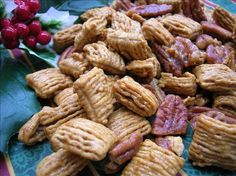 Praline Pecan Crunch Snack Mix. I make this frequently and do not add the salt, but I add a lot of cashews with the pecans.