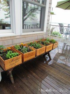 DIY Deck / herb garden using wine boxes