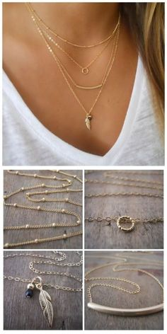 Dainty layered gold necklace set