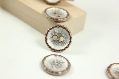 Hammered Surface Metal Buttons , Copper Patina Color , 2 Holes , 0.59 inch , 10 pcs by Lyanwood, $5.00