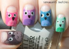 Owl nail art. #samariumsswatches