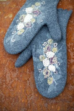 Felted wool mittens --- Handmade ( http://www.etsy.com/listing/61525314/felted-wool-mittens-handmade-to-order?# )