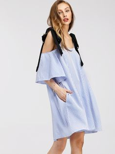 Vestido con hombros descubiertos de rayas verticales -Spanish SheIn(Sheinside)