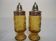 Amber Depression Glass Salt and Pepper Shakers by ChellesTreasure...my candy dish needed some friends :)