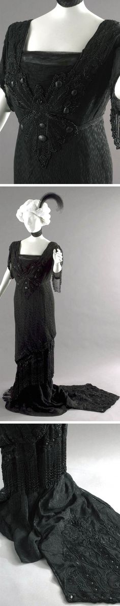 ~Evening dress, American, ca. 1900 or 1908~ This is a half-mourning gown. Rules of bereavement dictated 2 stages: deep or full mourning and half-mourning. Deep mourning clothes were of dull black crepe, and a widow's social engagements were very restricted. After a year, she entered half-mourning, and after a year of this, widows could wear colors but many followed Queen Victoria's lead and wore black for the rest of their lives. Smith College Historic Clothing