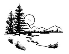 Landscape lake tree moon 1. unmounted rubber stamp | Crafts, Stamping & Embossing, Stamps | eBay!