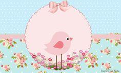 Pajarito Rosa en Fondo Shabby Chic: Invitaciones y Cajas para Imprimir Gratis.