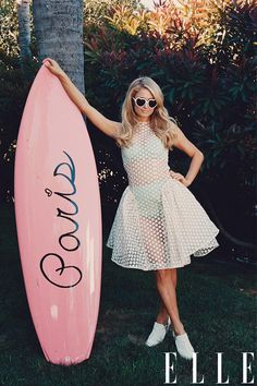 Occupation is Paris Hilton(I think), and her original surf board, ELLE Magazine, taken by Sofia Coppola.