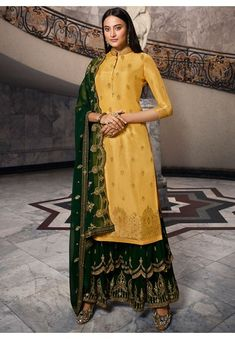 Golden Dola Jacquard Kameez with Georgette Sarara and Dupatta Sharara Suit, Pakistani Salwar Kameez, Ethnic Outfits, Indian Outfits, Yellow Fabric, Yellow Art, Beautiful Girl Indian, How To Dye Fabric, Embroidered Silk