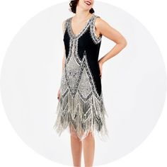 The Gatsby 1920's dress   Black silver.