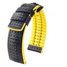 Hirsch Performance Kaucsuk és Bőr Carbon mintás prémium óraszíj - Smartwatch órákhoz is ajánljuk