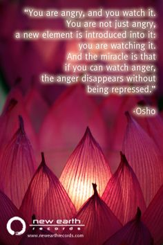 """You are angry, and you watch it. You are not just angry, a new element is introduced into it: you are watching it. And the miracle is that if you can watch anger, the anger disappears without being repressed."" -Osho"