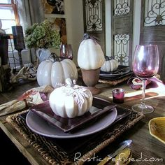 Purple Rust and Antler Tablescape for Fall   Rustic & Refined