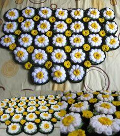 FIFIA CROCHETA blog de crochê : manta de crochê flor margarida vídeo
