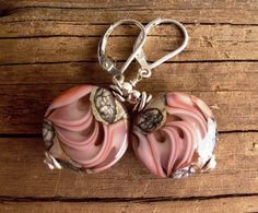 Pink Seashell Lampwork Glass and Sterling Silver
