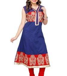 Buy Blue embroidered Cotton kurtas-and-kurtis kurtas-and-kurti online