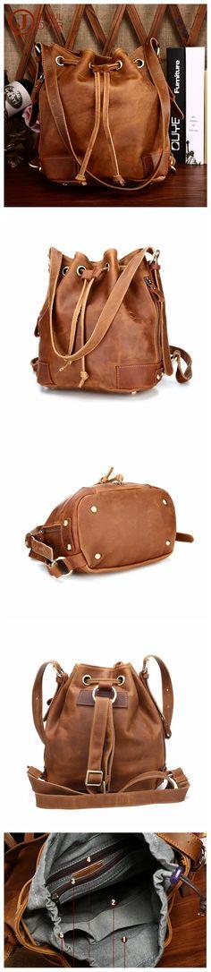 ROCKCOW Women Shoulder Bag Fashion Bucket Bag Drawstring Bucket Bag Crossbody Messenger Handbag 3012