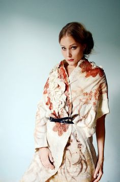 Eco printed nuno felt kimono coat jacket by Vilte & Irit Dulman--wow.