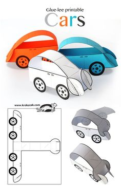 Glue-Lee printable cars art ideas crafts for kids, preschool crafts, crafts. Paper Crafts For Kids, Diy Paper, Diy For Kids, Fun Crafts, Printable Paper Crafts, Paper Folding For Kids, Simple Crafts, Craft Activities, Preschool Crafts