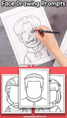Blank Faces Drawing Prompts If your students aren't yet ready to draw a portrait why not offer them a drawing prompt where they just need to draw in the facial features. Let them finish up the drawings by drawing a face. Art Drawings For Kids, Drawing For Kids, Easy Drawings, Art For Kids, Hipster Drawings, Unique Drawings, Realistic Drawings, Kawaii Drawings, Beautiful Drawings