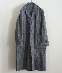 LILY1ST VINTAGE 1940'S DEADSTOCK FRENCH LINEN ATELIER COAT http://floraison.shop-pro.jp/?pid=72245541